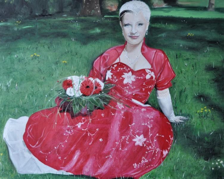 Frau in Rot, Gemälde